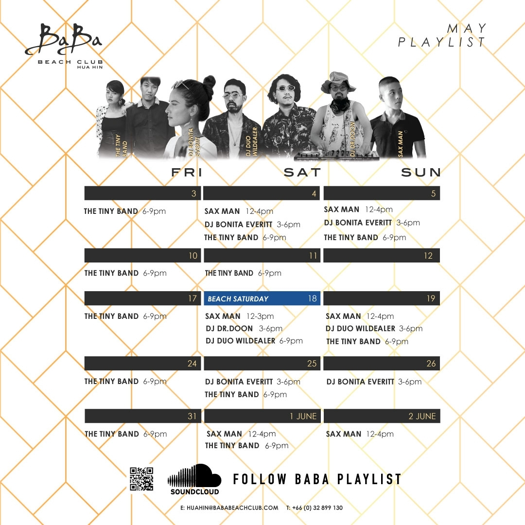 May Playlist Baba Beach Club Hua Hin Thailand
