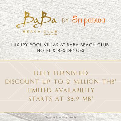 Baba Beach Club Huahin Villa for sale Start at 33.9MB